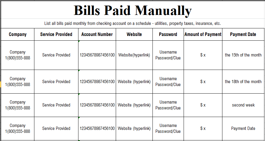 The Art of Love & Money Manual Bill Pay
