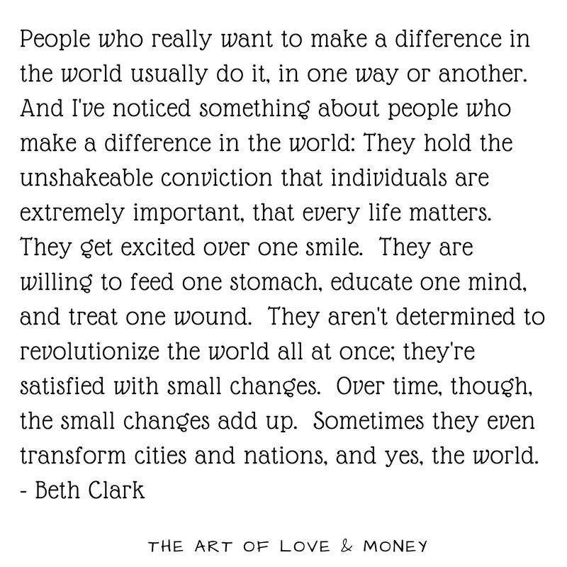 The Art of Love & Money - People who really want to make a difference