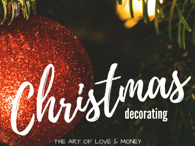 The Art of Love & Money Christmas Decorating red glittery ornament on tree