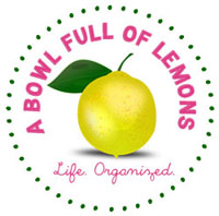 A Bowl Full of Lemons Logo life organized circle surrounded by pink dots