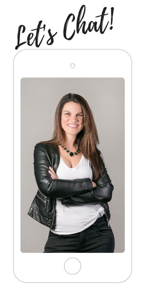 Rachelle Magadan Financial Coach Let's Chat Image in an i-phone