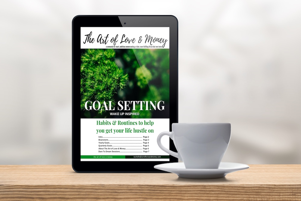 The Art of Love and Money Habits & Routines Goal Setting tablet with white coffee mug